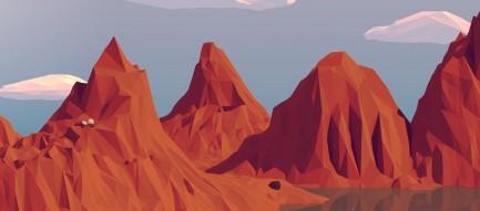 ポリゴン 山脈 iPhone6壁紙