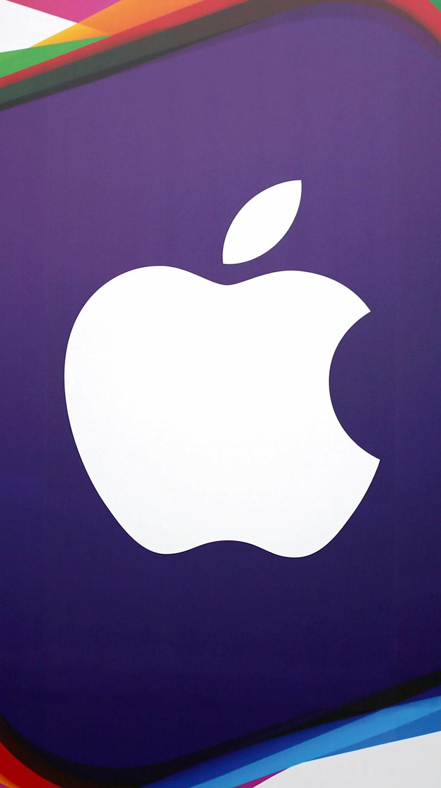 紫地 アップルロゴ iPhone6壁紙
