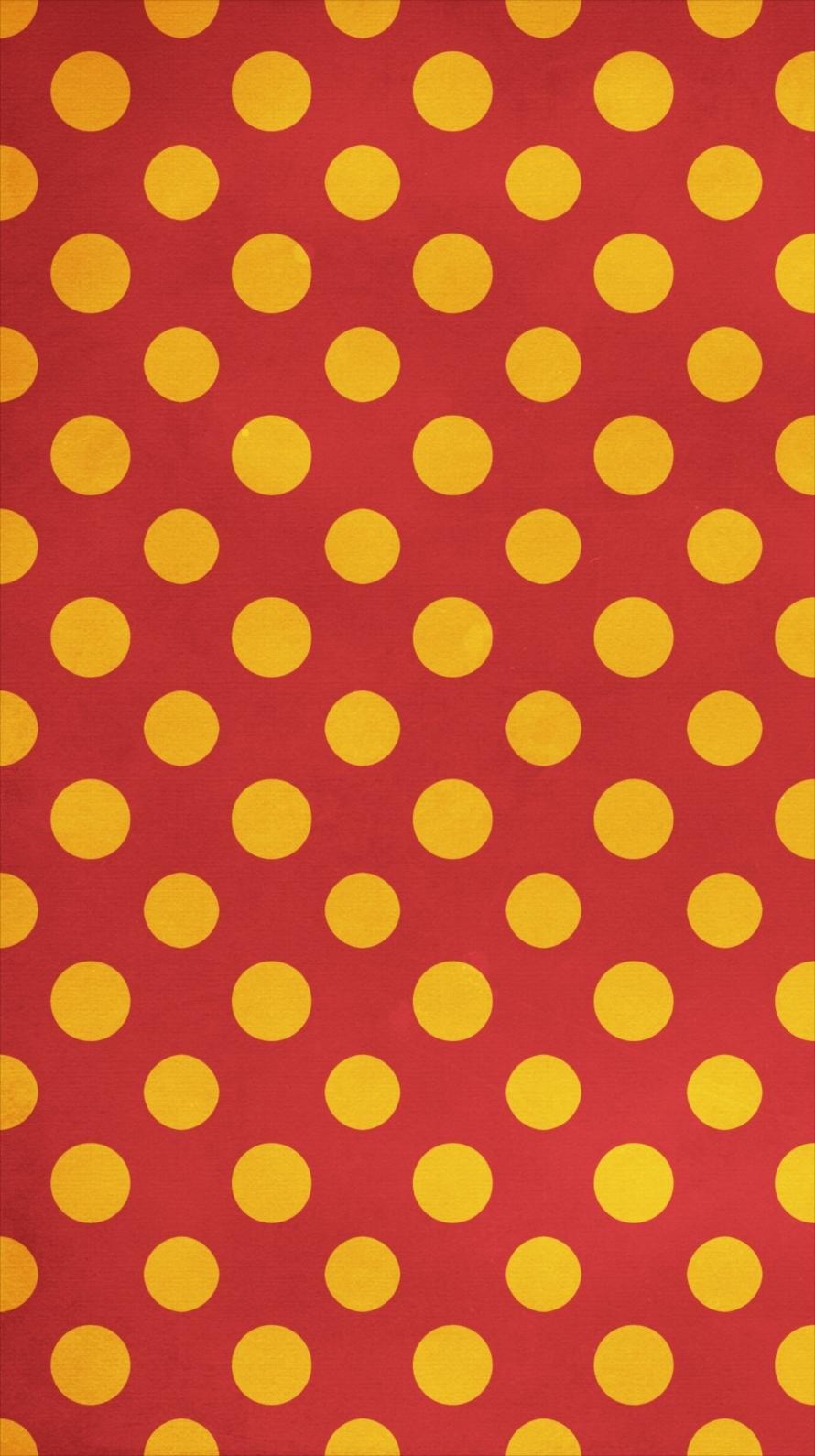 赤と黄色のドット柄 iPhone6壁紙