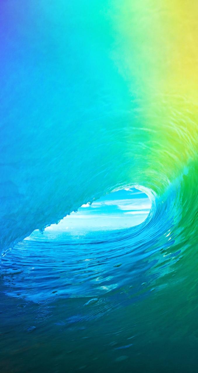 メロン色の波 iPhone6壁紙