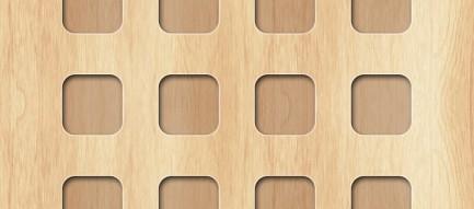 シンプルな木目 ミニマルなアップルロゴ iPhone6壁紙