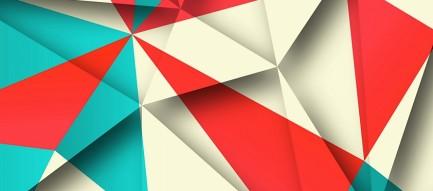 赤 緑 白のポリゴン iPhone6壁紙