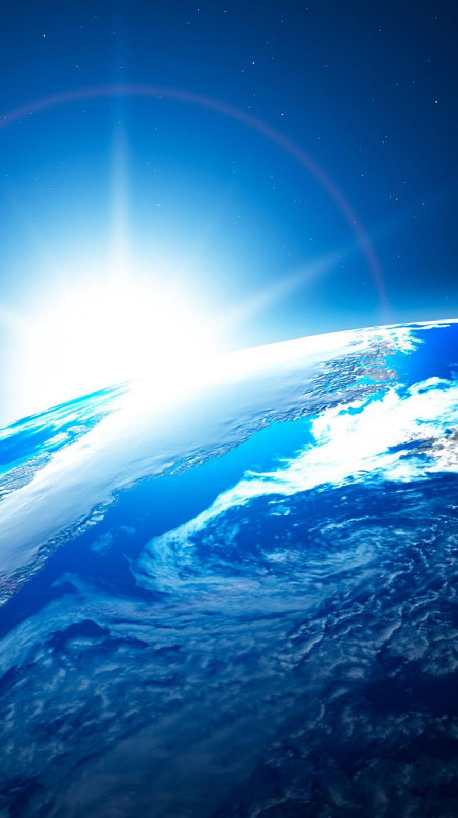 地球 光のフレア iPhone6壁紙