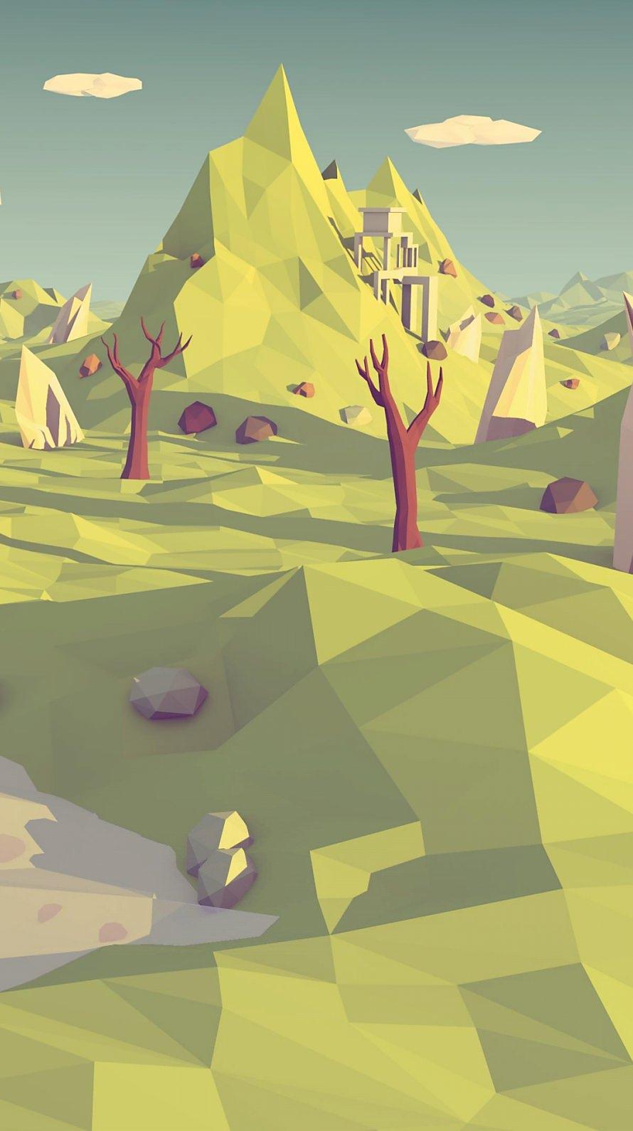ポリゴン 枯れた土地 iPhone6壁紙