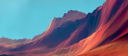 粘土質の山と静かな湖畔 iPhone6壁紙