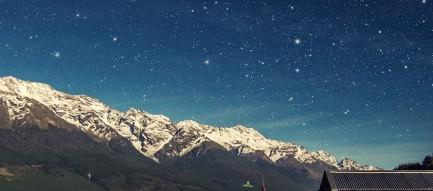 桟橋と満天の星空 iPhone6壁紙