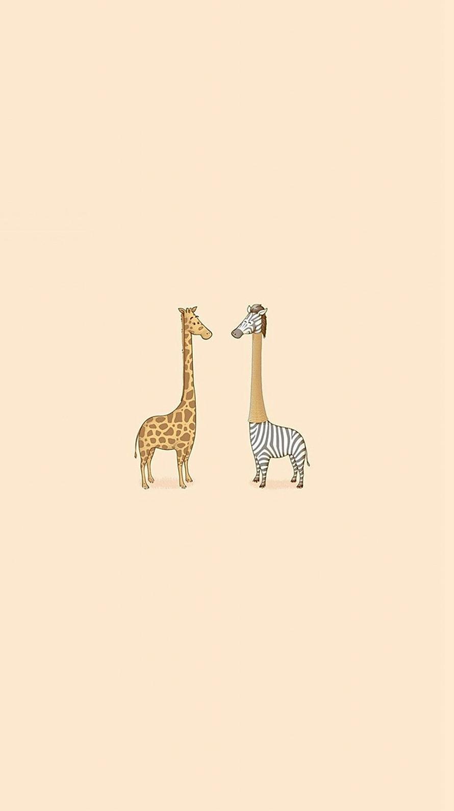 シマウマとキリン iPhone6壁紙