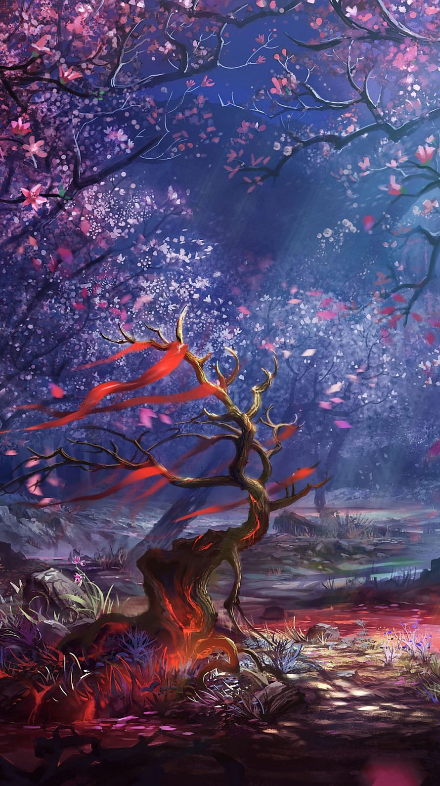 桜と朽ちた木 iPhone6壁紙