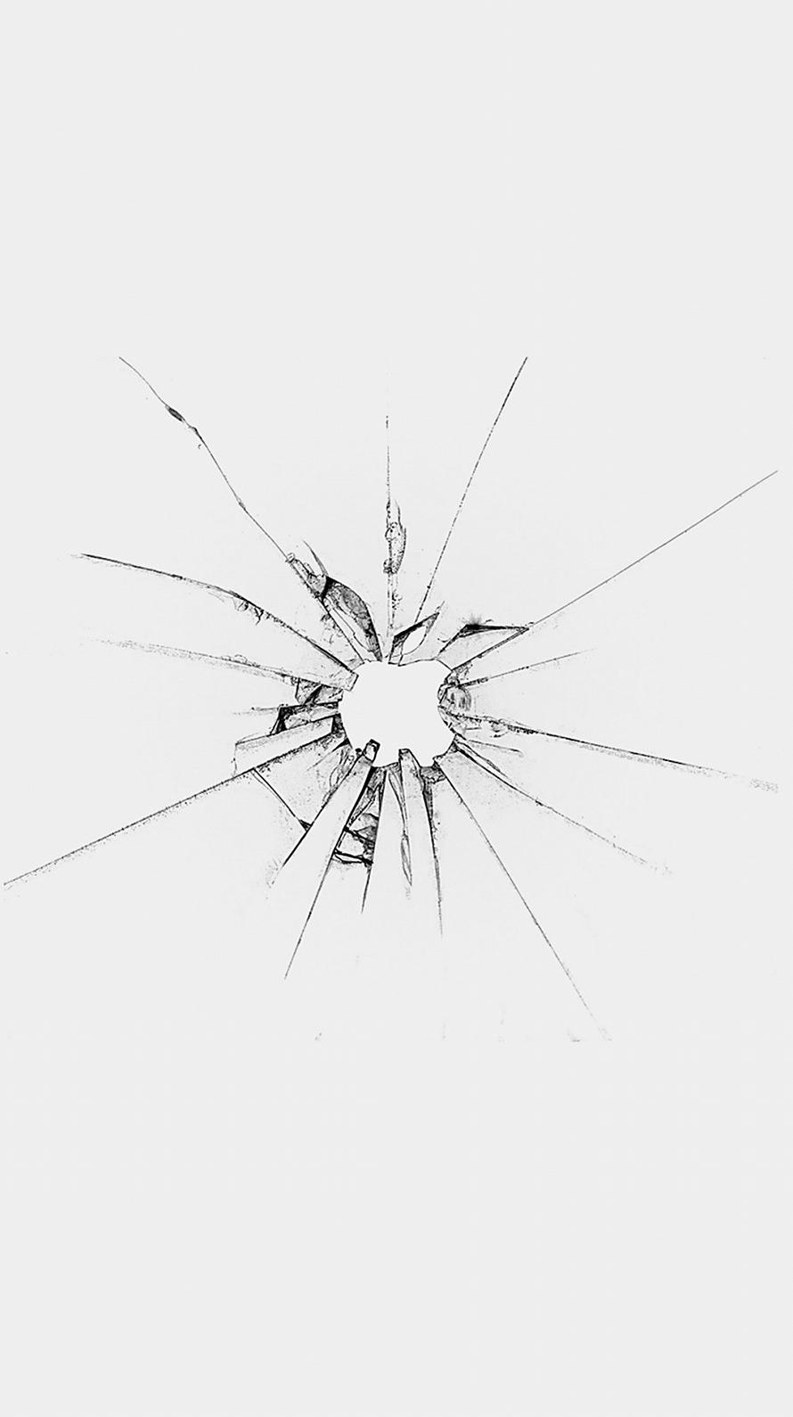 割れた白いガラス iPhone6壁紙
