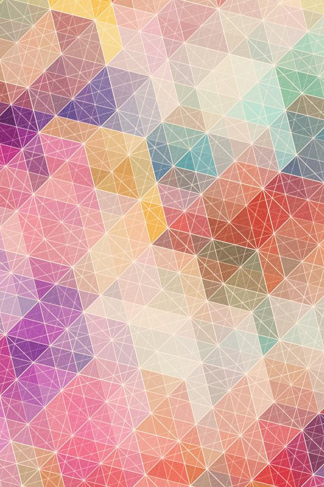 カラフルトライアングルのスマホ用壁紙(iPhone4S用)