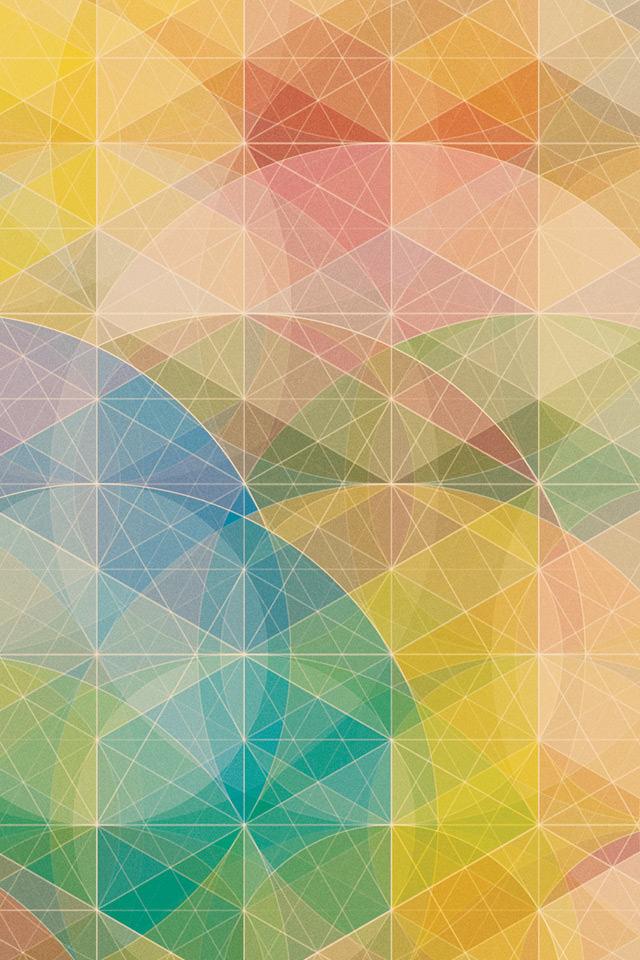 キーマ色のサークル柄のスマホ用壁紙(iPhone4S用)