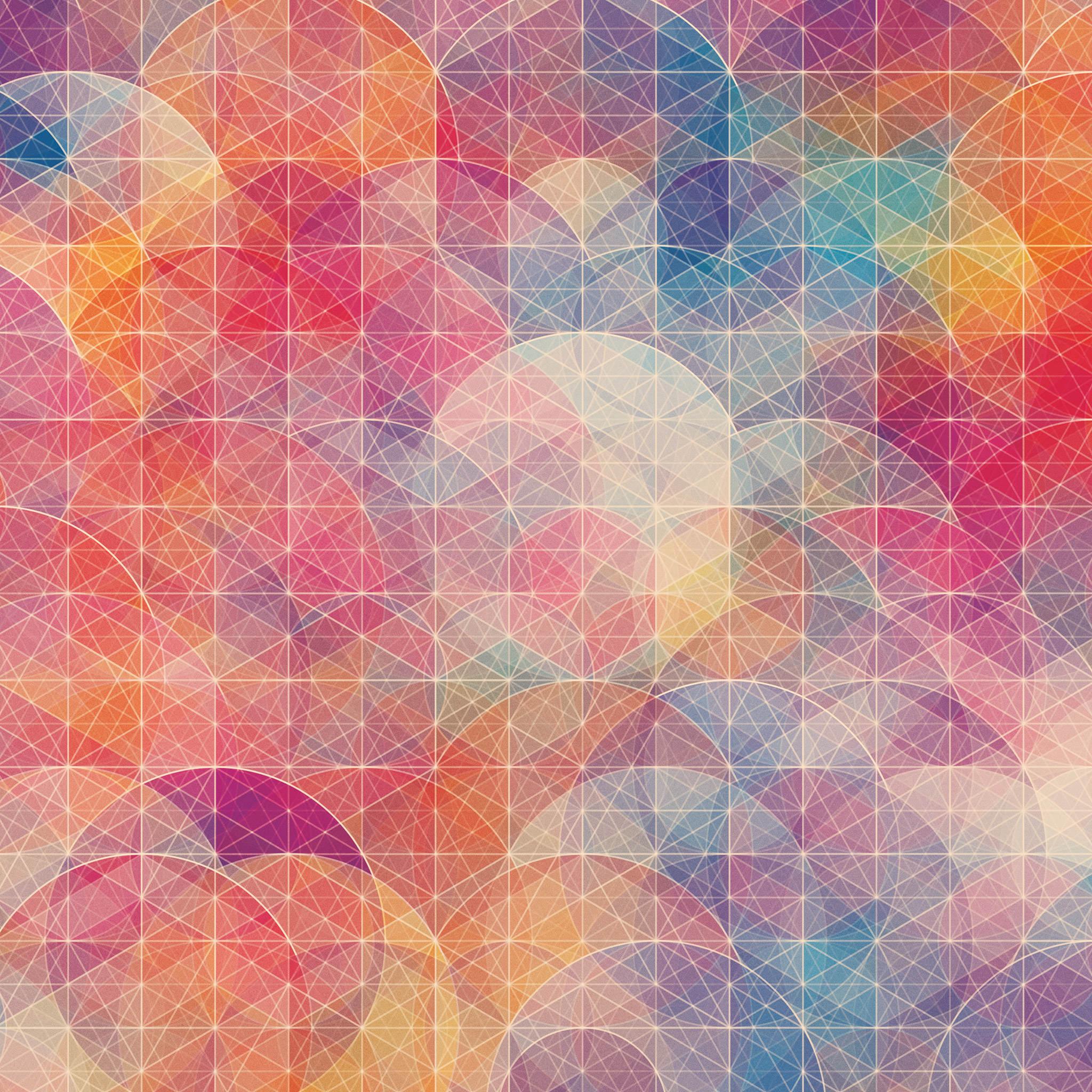 カラフルな幾何学模様の壁紙6(iPad3用/2048×2048)