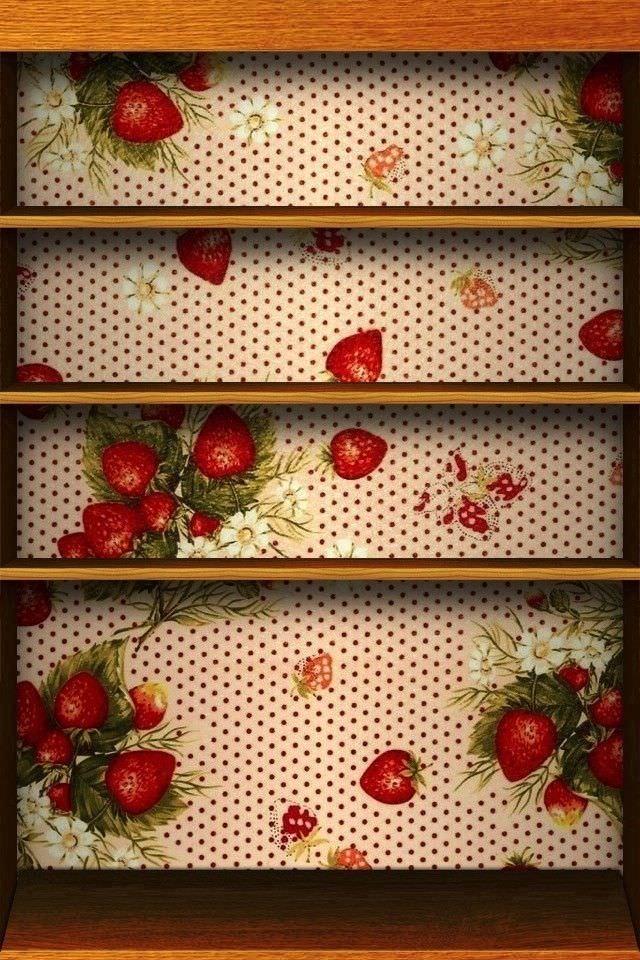 かわいいイチゴの棚のスマホ用壁紙(iPhone4S用)
