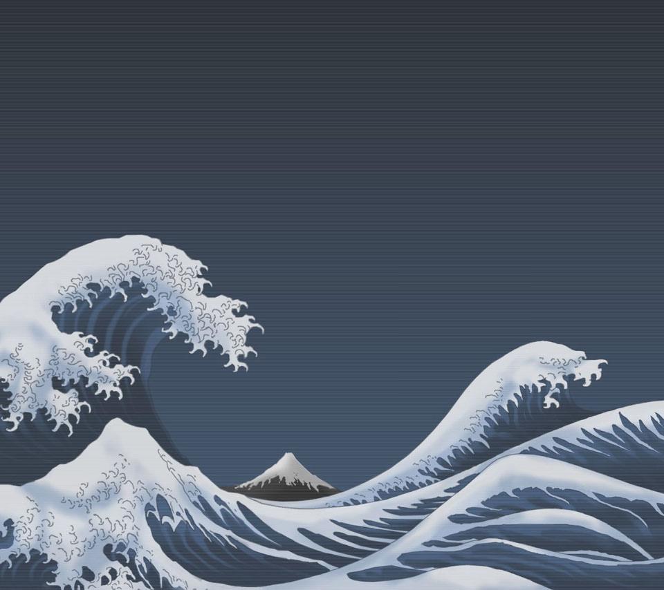 白波と富士山のスマホ用壁紙 Android用 960 854 Wallpaperbox