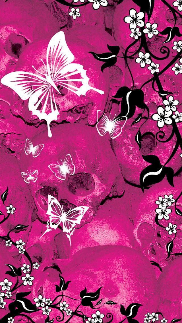 ピンクの蝶 iPhone5 スマホ用壁紙