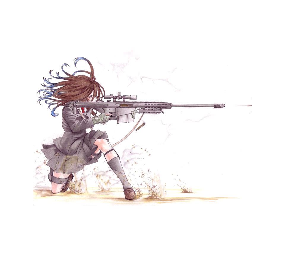 マシンガンを撃つ少女 Androidスマホ壁紙