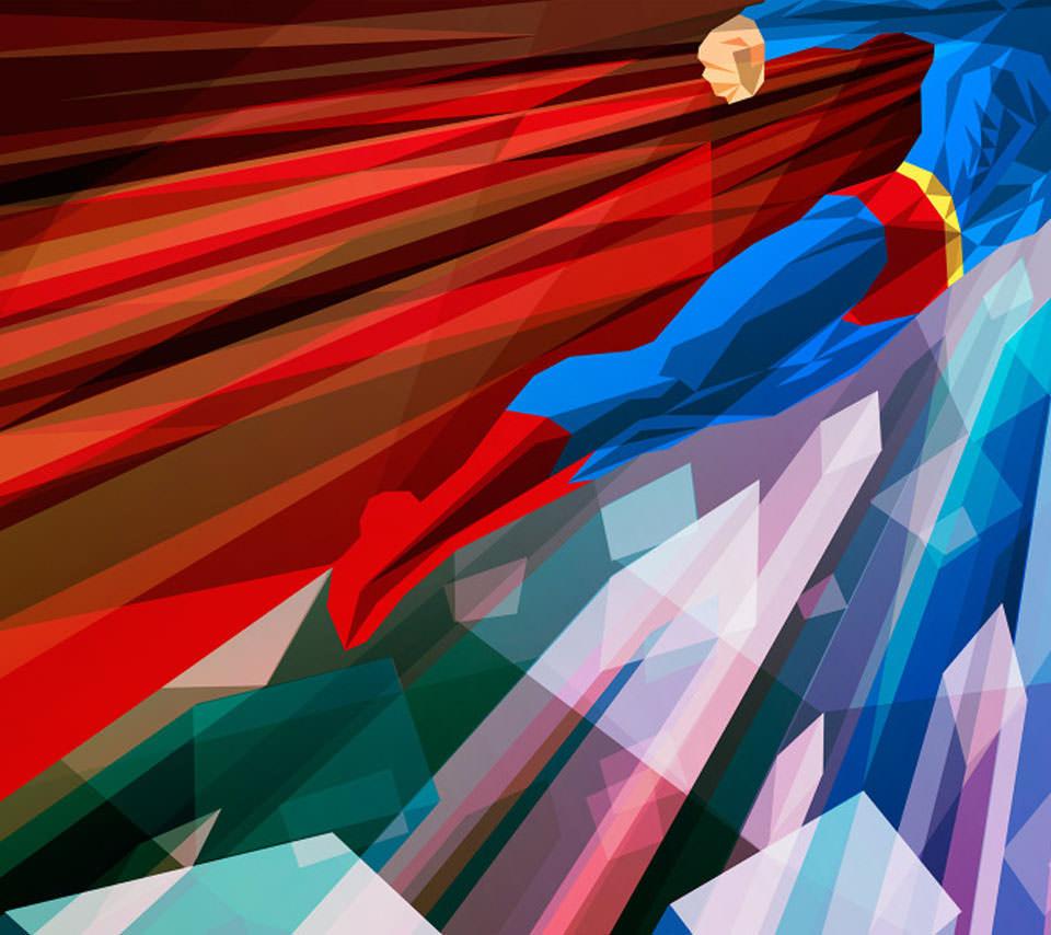 ポリゴン風のスーパーマン Androidスマホ用壁紙