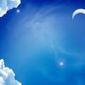 Blue Sky Moon Androidスマホ壁紙