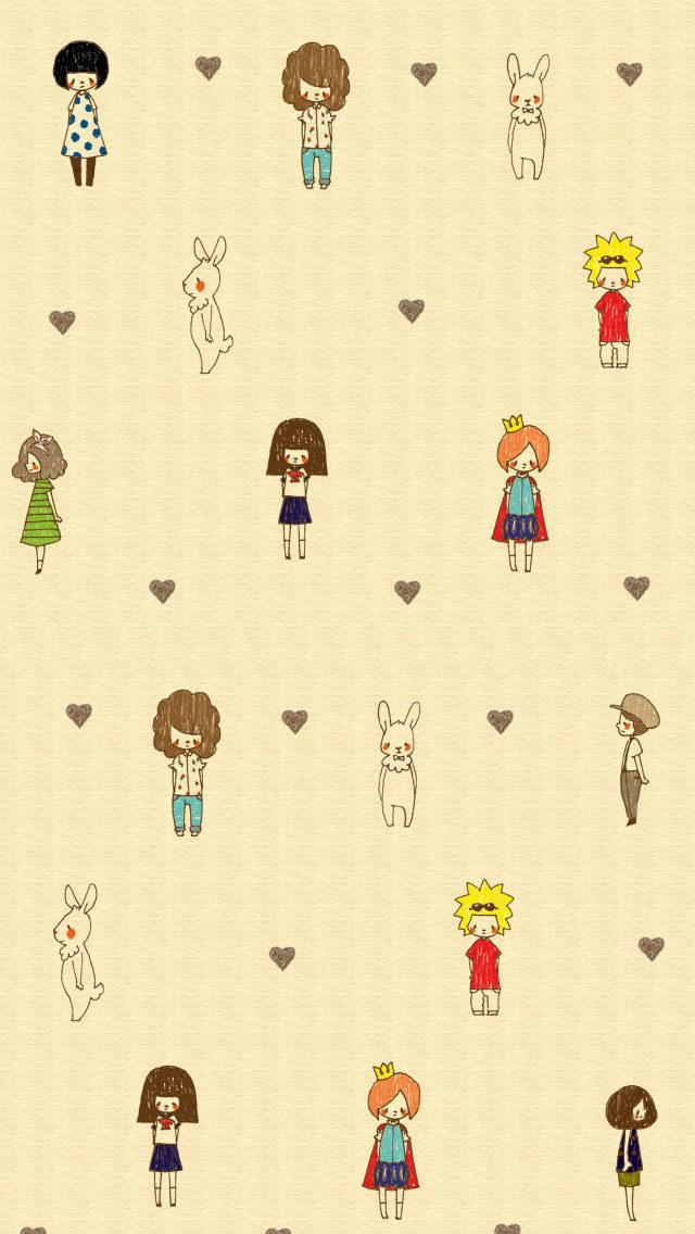 少年・少女・ウサギ iPhone5 スマホ用壁紙