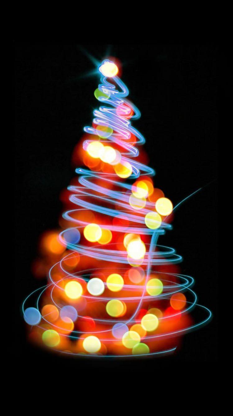 ネオンのクリスマスツリー Iphone6壁紙 Wallpaperbox