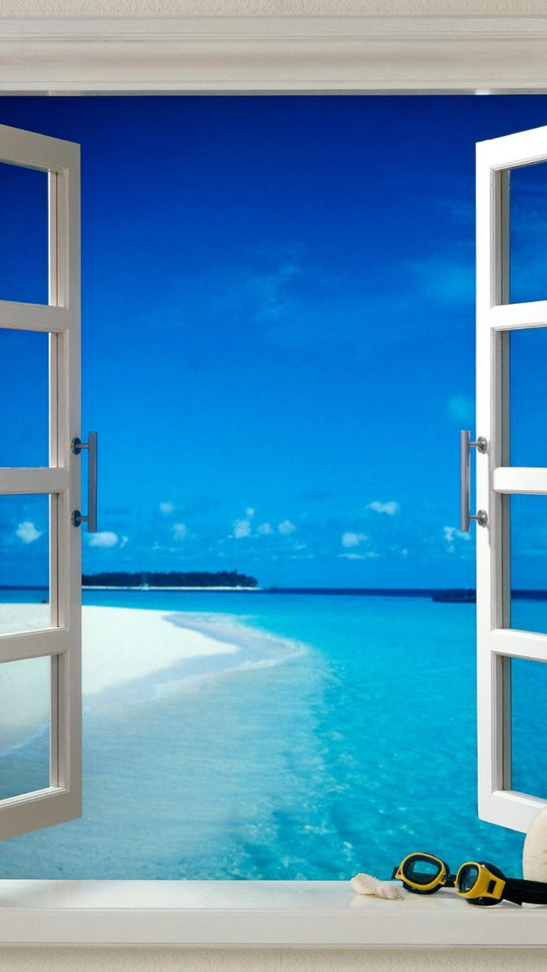 窓から望むビーチ Iphone6 Plus壁紙 Wallpaperbox