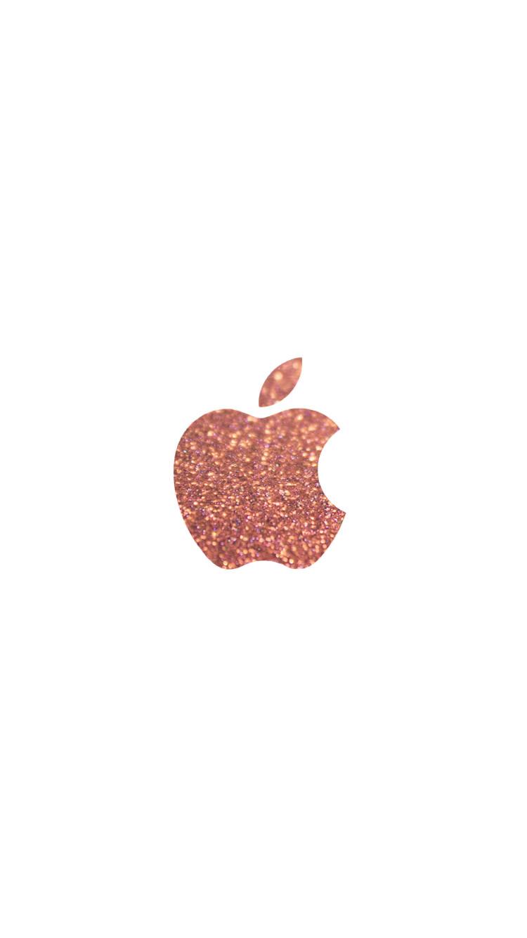 ピンクのキラキラしたアップルロゴ Iphone6壁紙 Wallpaperbox