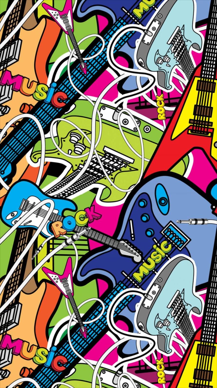ポップなギター イラスト Iphone6壁紙 Wallpaperbox