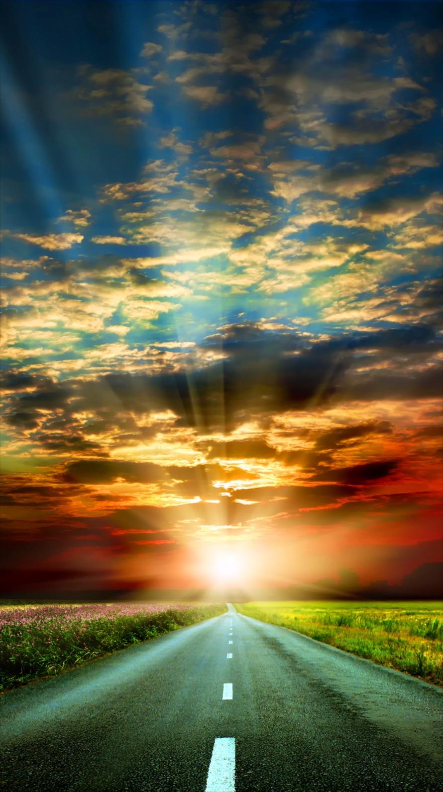 夕日と真っ直ぐな道 Iphone6壁紙 Wallpaperbox